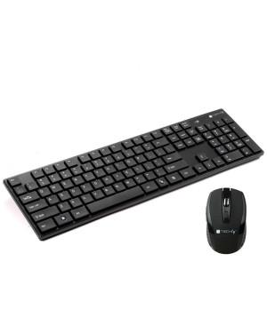 Kit Tastiera Standard e Mouse Wireless 2.4GHz Nero