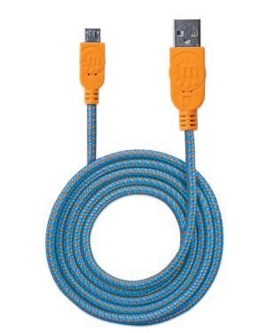 Cavo Micro USB Guaina Intrecciata USB2.0 A M/MicroB M 1m Blu/Arancio