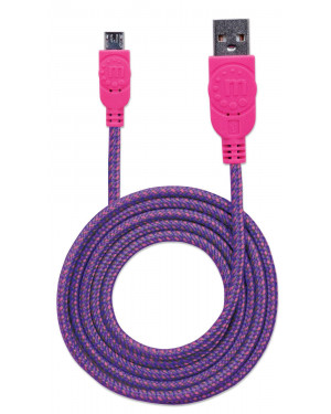 Cavo Micro USB Guaina Intrecciata USB2.0 A M/MicroB M 1m Viola/Fucsia