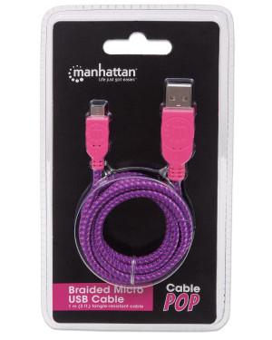 Cavo Micro USB Guaina Intrecciata USB2.0 A M/MicroB M Viola Blister